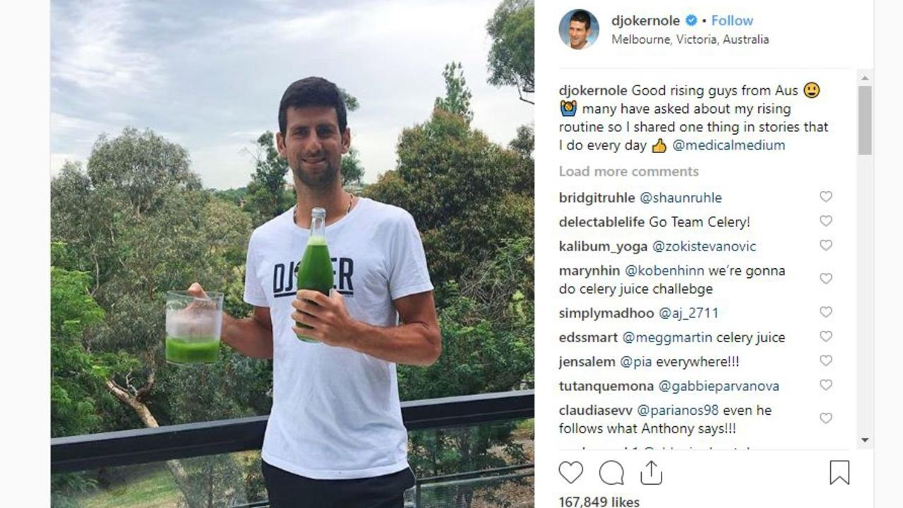 Novak Djokovic stayed at a Luxico property in Melbourne during the Australian Open. Picture: Instagram/@djokernole.