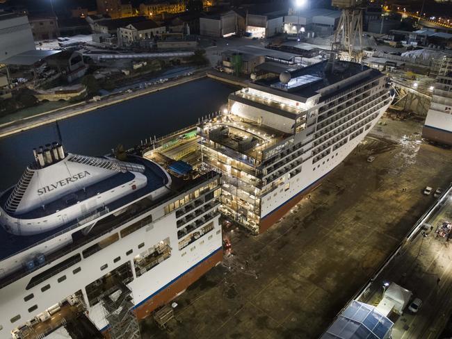 Lengthening process of Silversea's Silver Spirit begins. Picture: Silversea