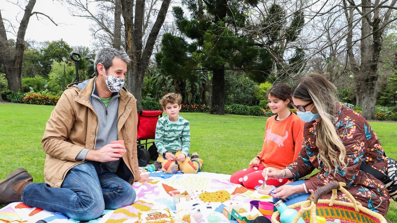 A Melbourne family enjoying a picnic on Sunday. Picture: Asanka Ratnayake
