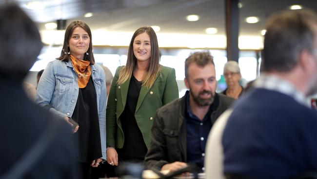 Lucy Gott, left, and Chloe Cooper were delayed by five hours for a meeting in Melbourne. Picture: LUKE BOWDEN