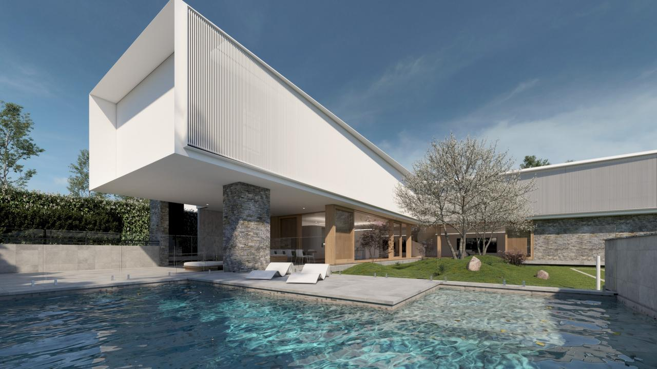 It features a pool and tennis court.