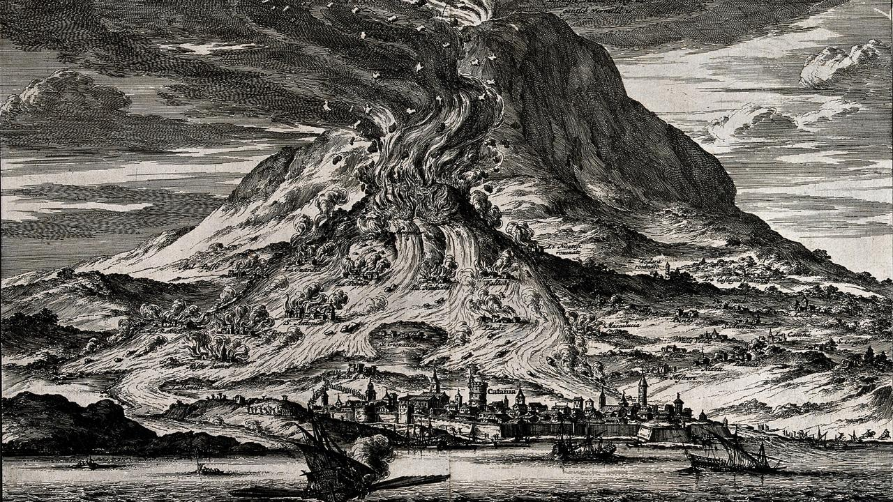 V0025180 The eruption of Mount Etna in 1669. Etching.