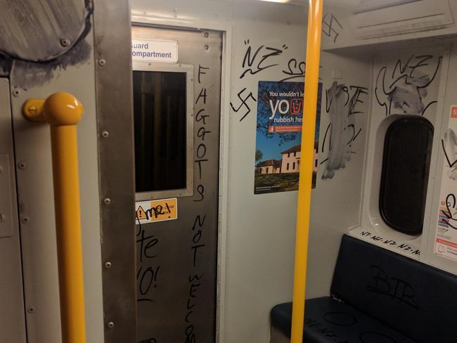 The graffiti included swastikas. Picture: ecarter6/imgur