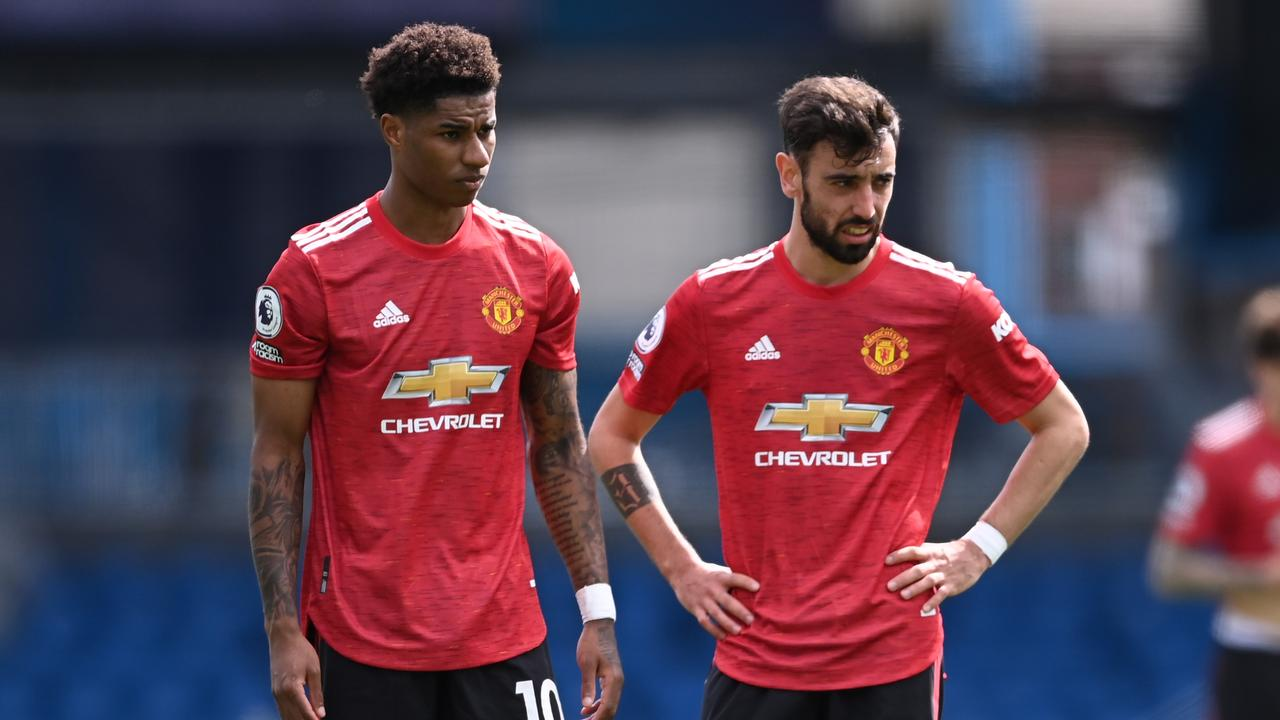 Marcus Rashford and Bruno Fernandes were left frustrated by Leeds. (Photo by Laurence Griffiths/Getty Images)