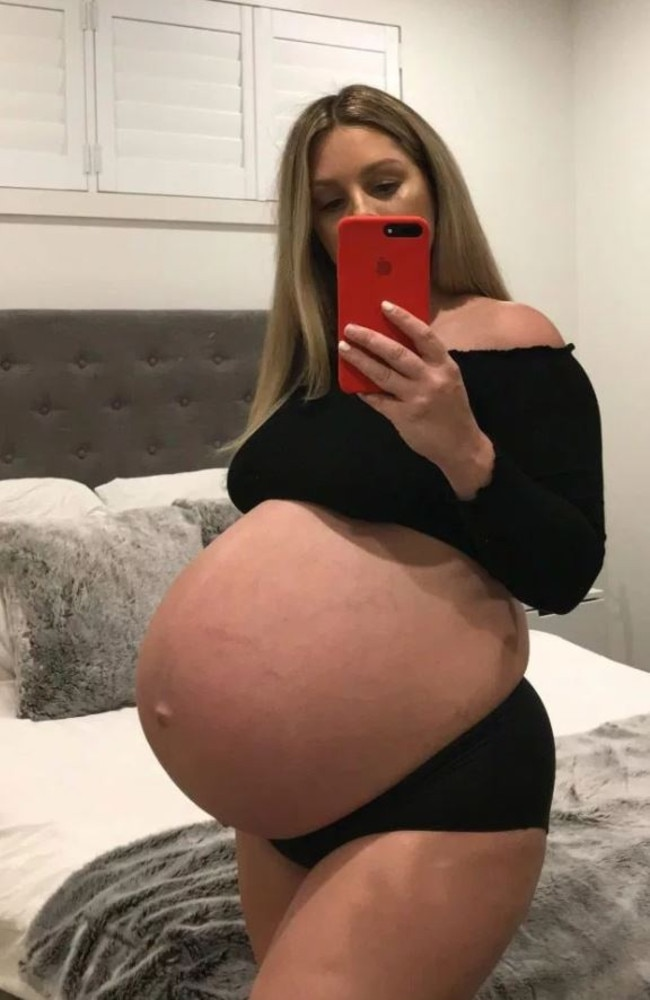 Elisha Bakes was cruelly taunted over the size of her bump. Picture: MDW Features