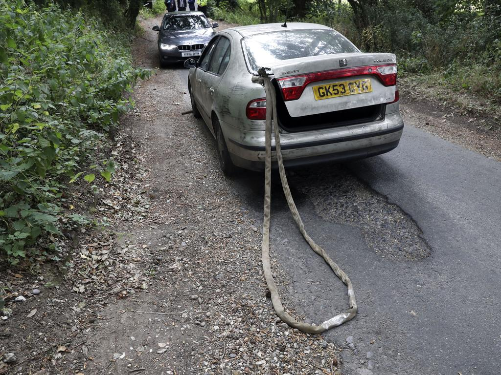The Seat Toledo with tow rope Constable Harper got caught in. Picture: Steve Parsons/Getty Images