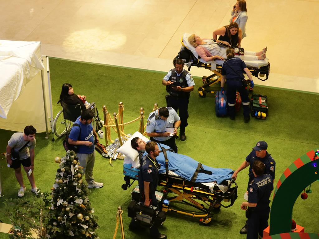 Shoppers were injured and treated at the scene before a fleet of ambulances transported people to Westmead Hospital. Picture: Bill Hearne