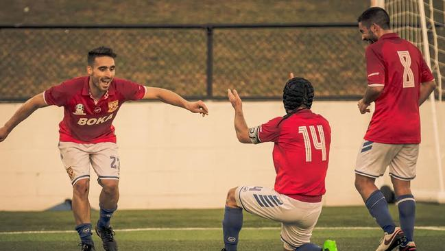 Panni Nikas has earned Sydney United 58 a comprehensive 3-0 victory against Sydney Olympic.