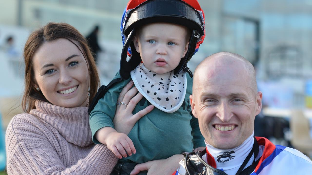 MERCURY TASMANIA, SPORT, HORSE RACING. PETER STAPLES COLUMN, SATURDAY, APRIL 20, 2019. Craig Newitt with his son Raine with the jockey's partner Breaana Smith