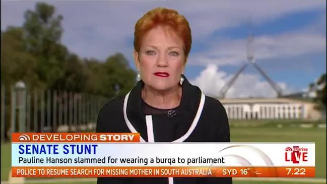 Hanson says she 'could not believe' Brandis' reaction to burqa stunt