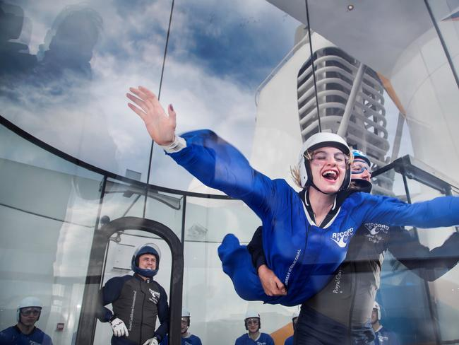 RIPCORD BY IFLY Don a suit and be prepared to take off. It's gravity-defying fun on Royal Caribbean's RipCord by iFly. Once trained, you'll float through the air in the safe skydiving simulator. Feel like you're going to crash? No problem, there's a trained expert within arm's reach. It's a must-try for the family.