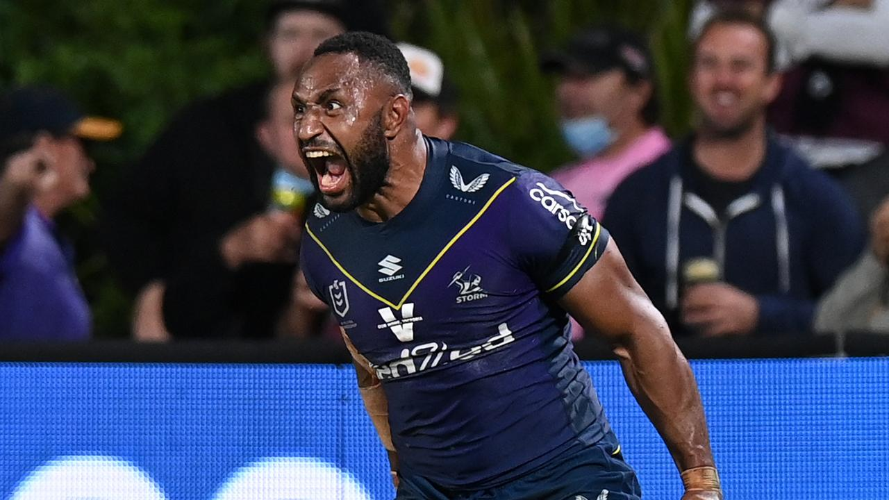 Olam roars after a try. Photo by Bradley Kanaris/Getty Images
