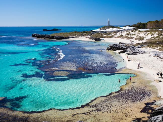CYCLE AROUND ROTTNEST ISLAND Cars aren't allowed on Rottnest Island, so cycling is the way to get around the island. Hire a bike or take your own and explore the breathtaking island at your own pace. Picture: Tourism Australia