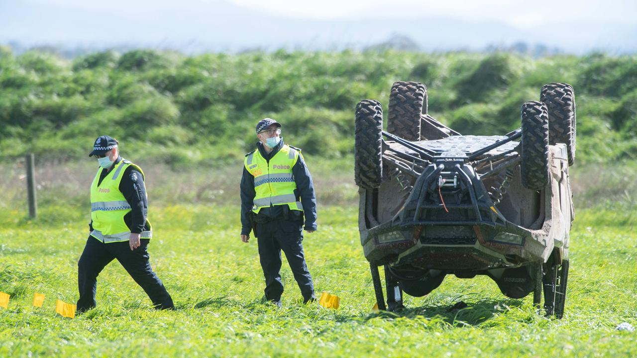 Police investigating at the scene of the fatal buggy crash on Saturday afternoon. Picture: Tony Gough