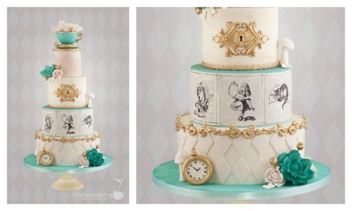 <b>ALICE IN WONDERLAND.</b>  She may have gone to the Mad Hatters Tea Party but this cake is nothing but refined elegance with touches of whimsy. Pages of the book featuring our favourite characters adorn one of the tiers and of course a pocket watch and teacup complete the look.<p><i>Source: Little Cherry Cake Company</i></p>