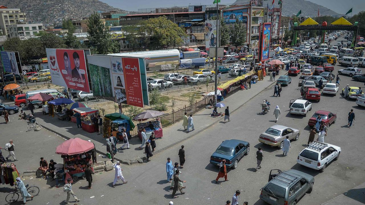A market place, flocked with local Afghan people at the Kote Sangi area of Kabul after Taliban seized control of the capital following the collapse of the Afghan government. Picture: Hoshang Hashimi