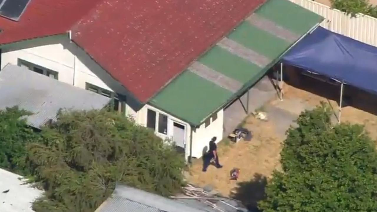 Aerial of the scene of the arrest in December 2016 of Claremont killer Bradley Edwards at his Kewdale house. Picture: Seven News