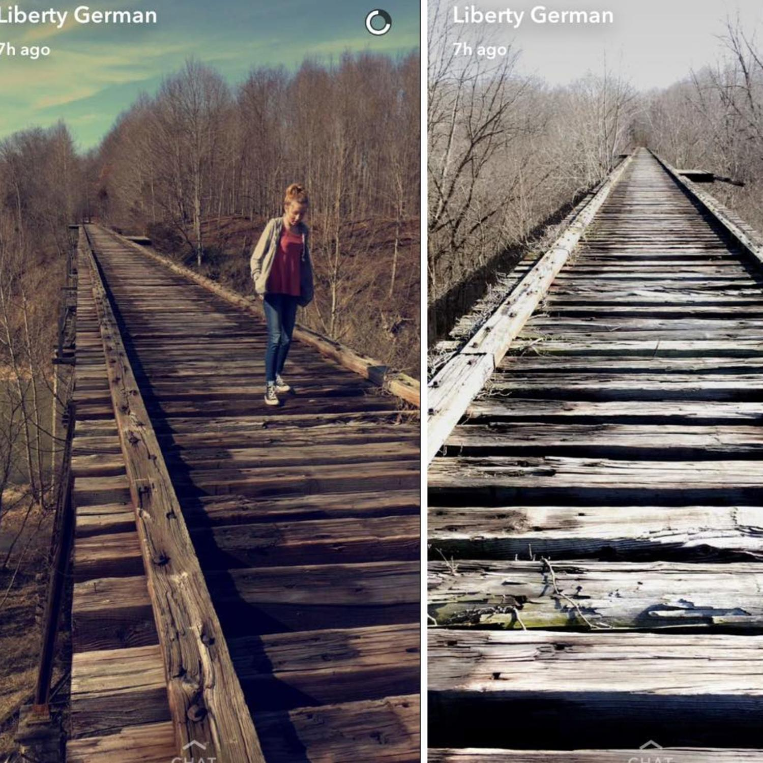 Liberty German's final photo of her best friend Abigail Williams and the bridge before they were abducted and murdered in 2017. Picture: Snapchat.