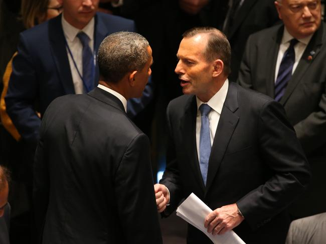 Taking on terror ... Prime Minister Tony Abbott chats with US President Barack Obama at the UN Security Council meeting.