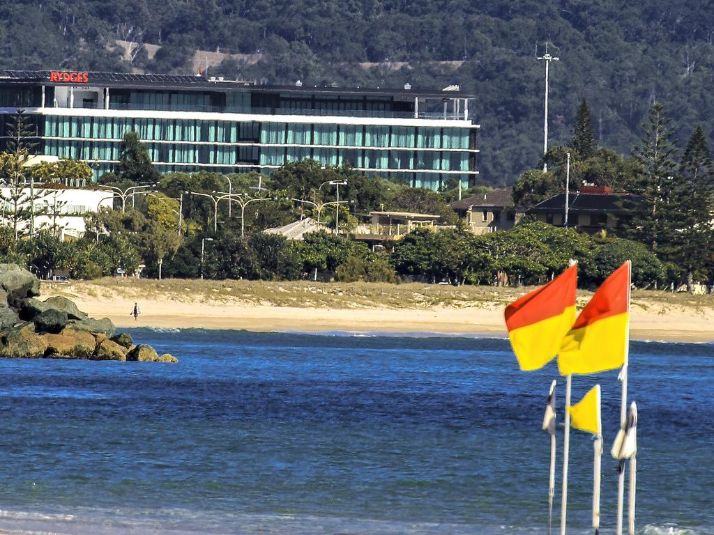 The Gold Coast Airport hotel from the beach.