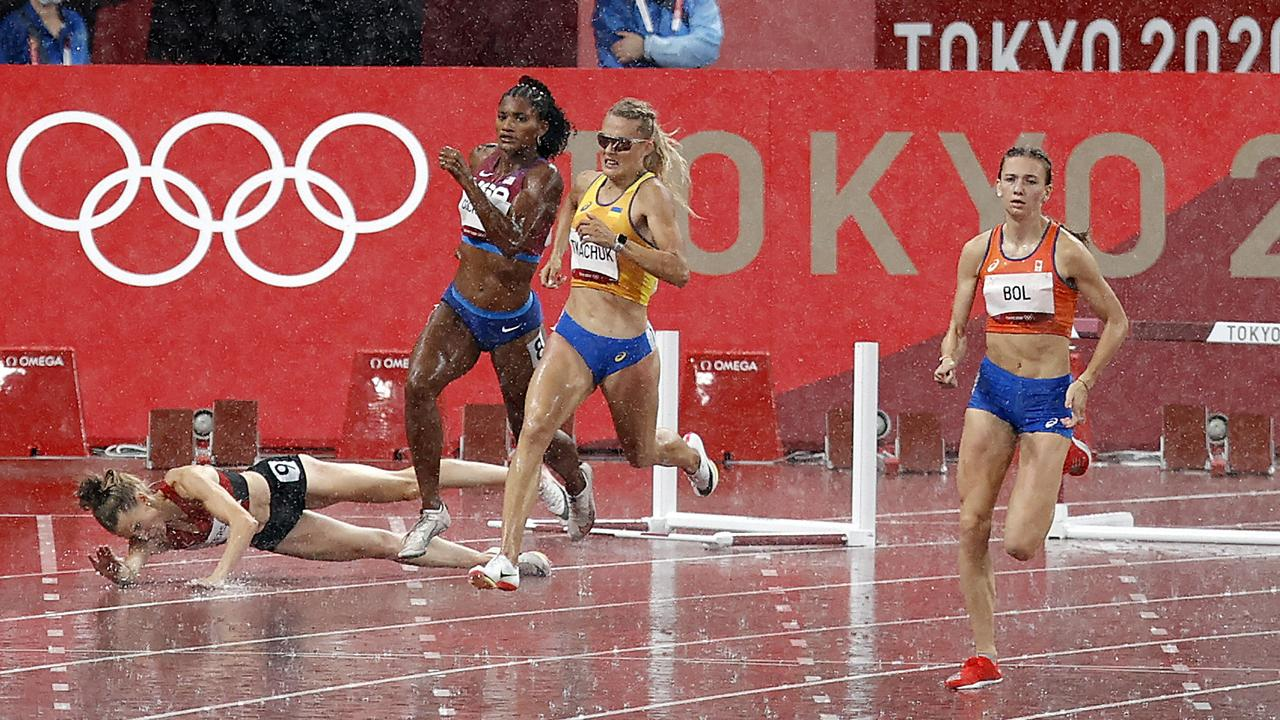 Heartbreak for Sara Peterson from Denmark after falling during the Womens 400m Hurdles semi-final. Picture: Alex Coppel
