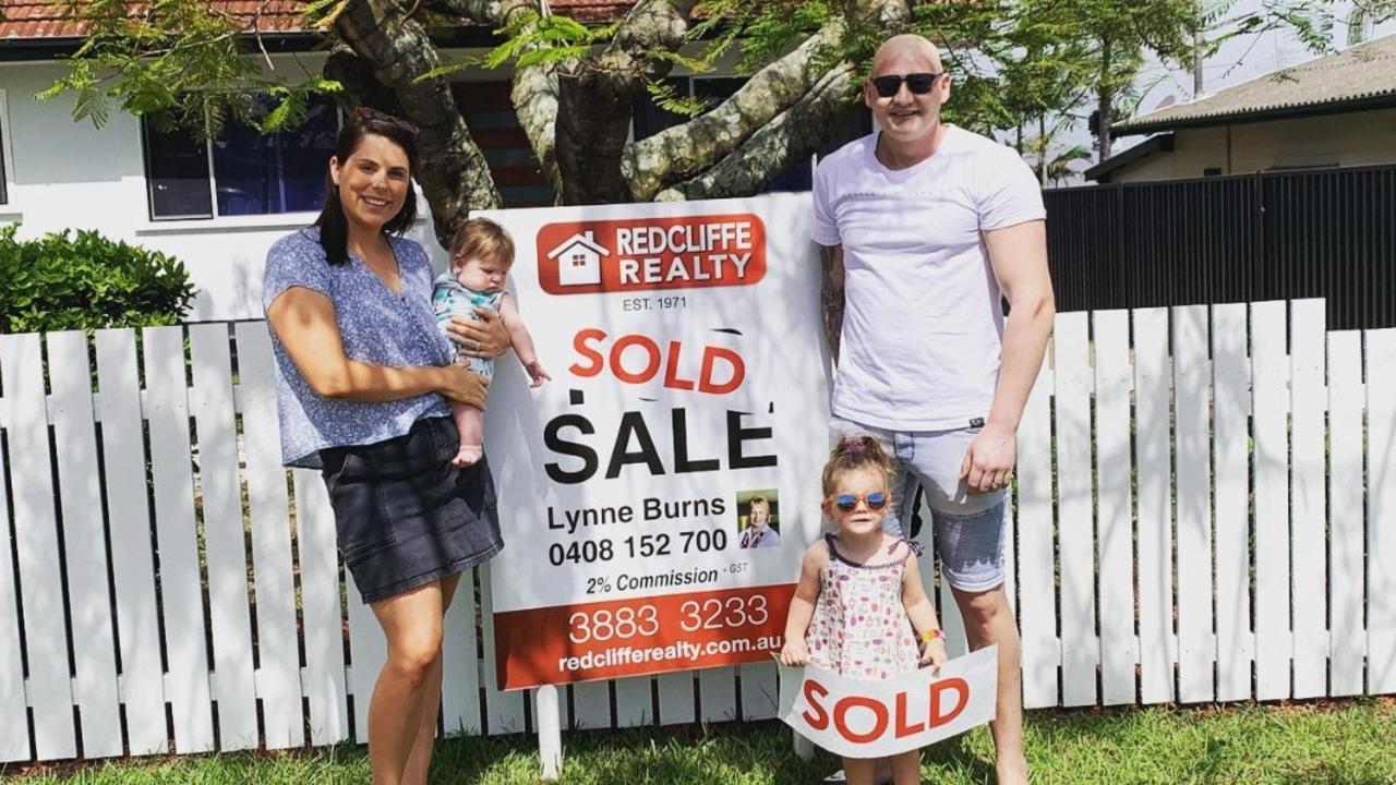 Brendan Nikolajew, wife Leah and their two children Georgie and Roman at their new home just days before his terminal diagnosis. Picture: GoFundMe