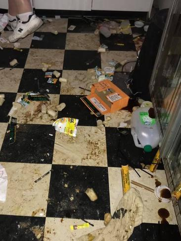 Dim sims and sauce were thrown over the floor and walls. Picture: Facebook