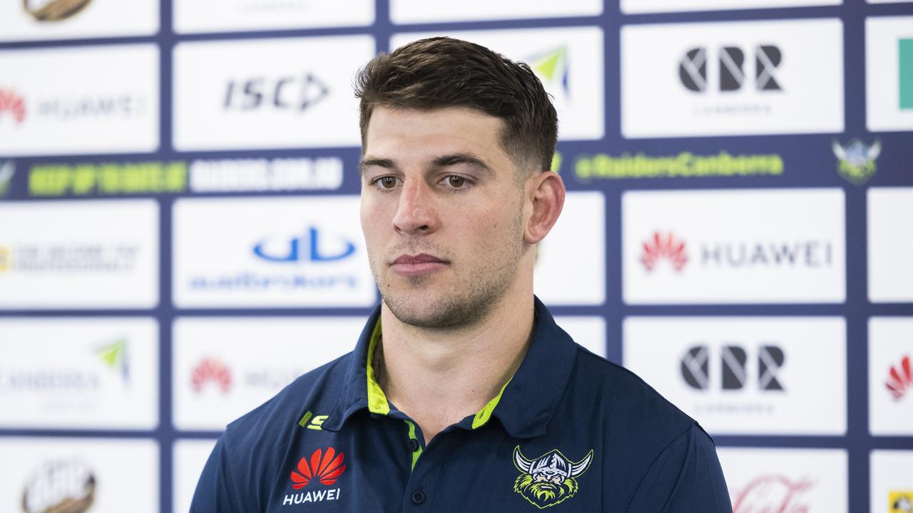 Canberra Raiders NRL player Curtis Scott speaks to the media
