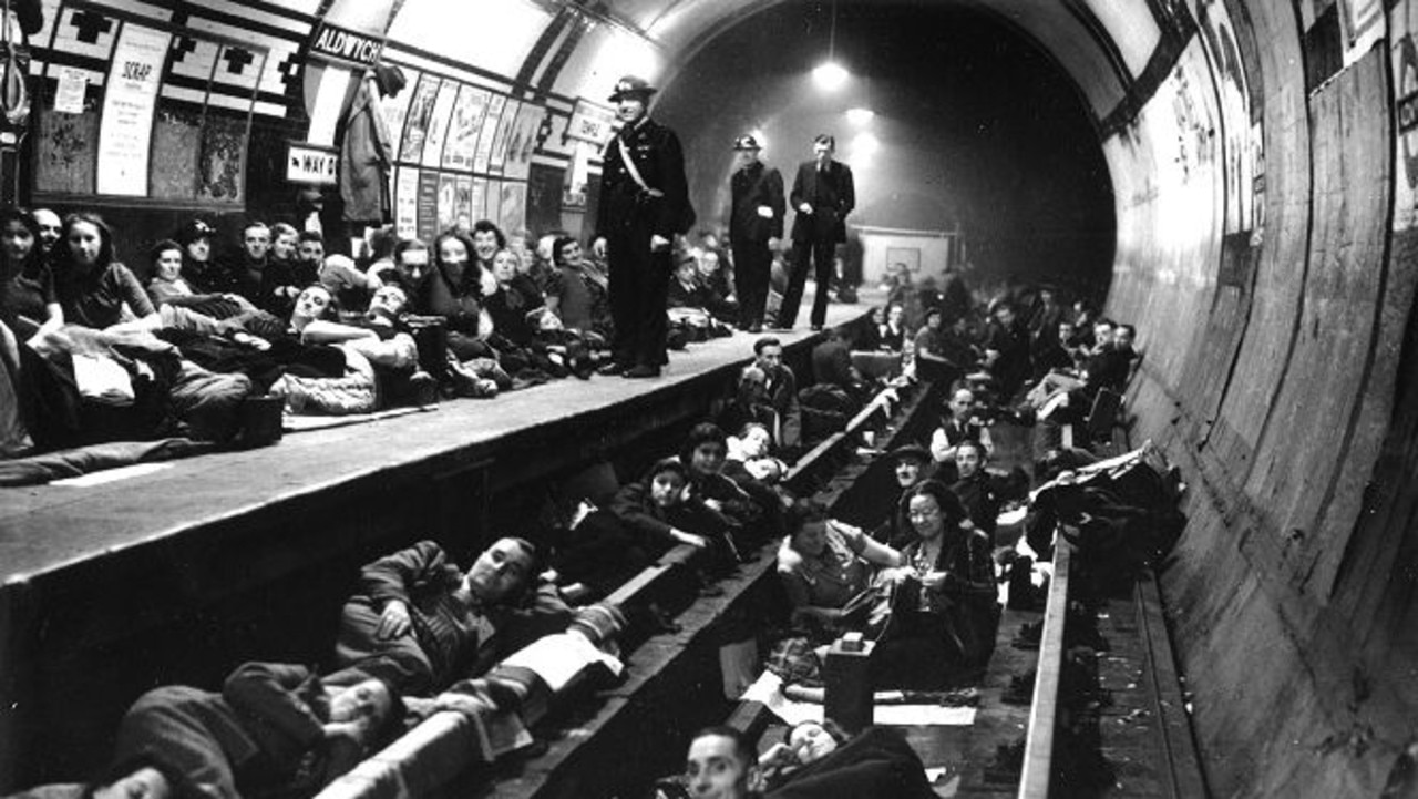 About 170,000 people sheltered in the tunnels and stations under London during WWII. Picture: London Transport Museum