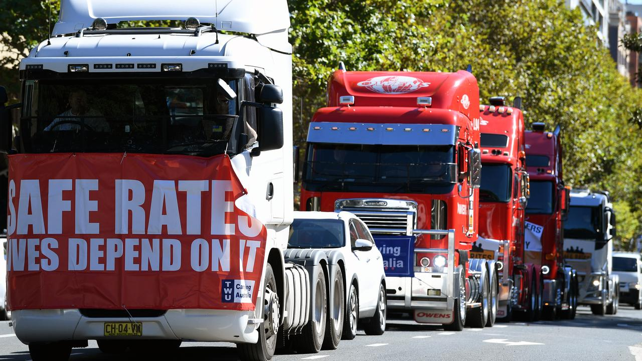 A Transport Workers Union protest convoy in 2019. Picture: Joel Carrett/AAP