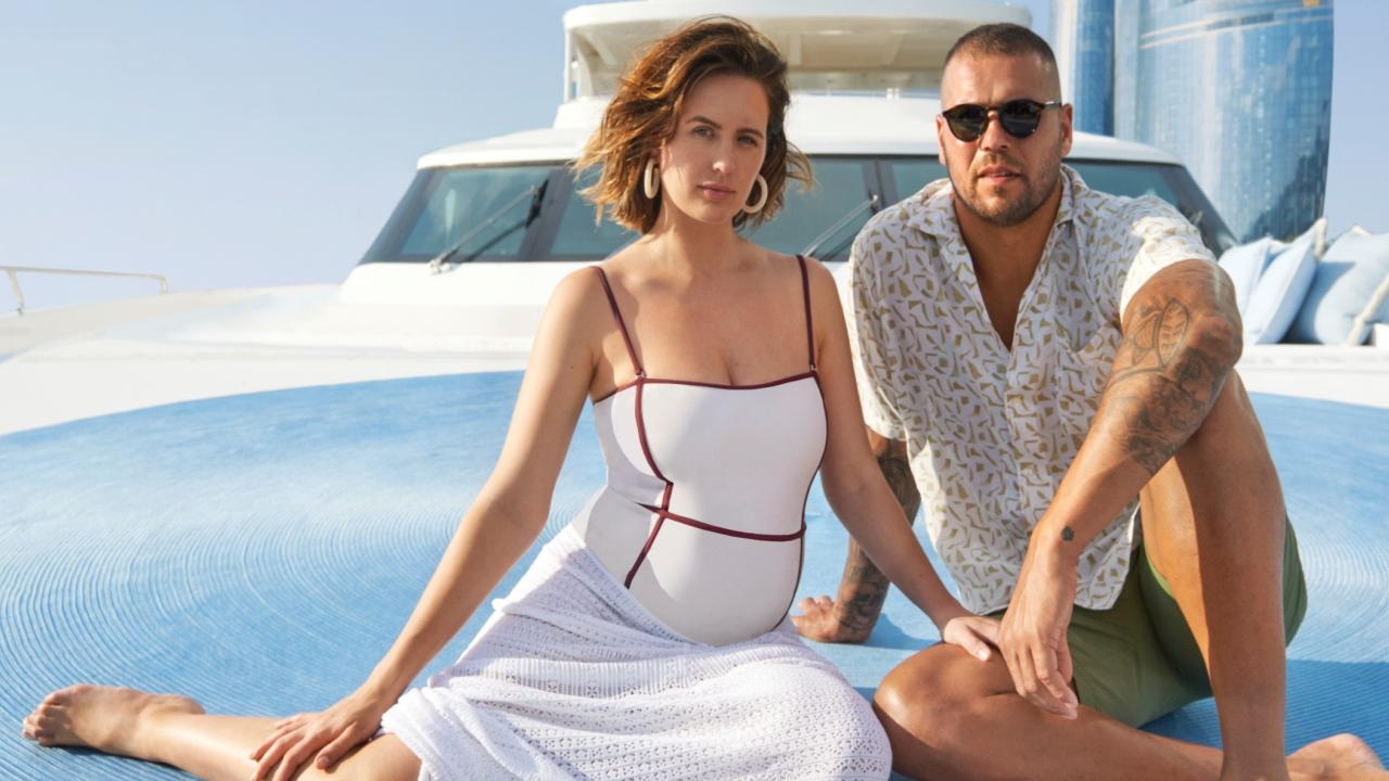 Jesinta and Buddy Franklin on Sydney Harbour. Picture: David Mandelberg