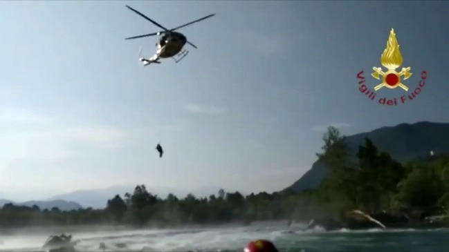 Italian Firefighters Use Helicopter to Rescue Boys Stuck on Boulder in River Rapids