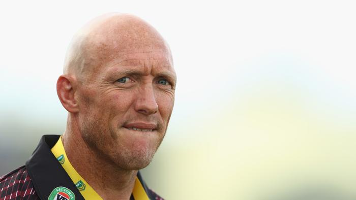 TAMWORTH, AUSTRALIA - MAY 08: Country coach Craig Fitzgibbon watches on during the NSW Origin match between City and Country at Scully Park on May 8, 2016 in Tamworth, Australia. (Photo by Mark Kolbe/Getty Images)