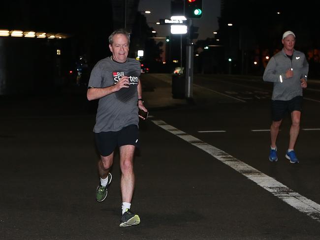 Opposition Leader Bill Shorten on a morning run in Sydney. Picture Kym Smith