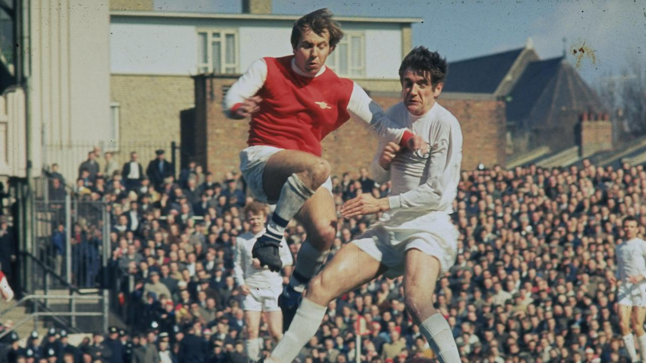 Norman Hunter of Leeds United tackles during a Football League Division One match in August 1969.
