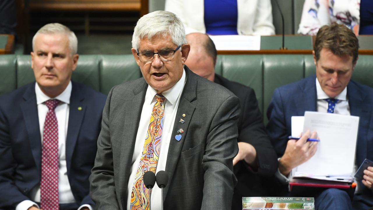 Australian Indigenous Affairs Minister Ken Wyatt met the women who'd travelled to Canberra. Picture: AAP Image/Lukas Coch