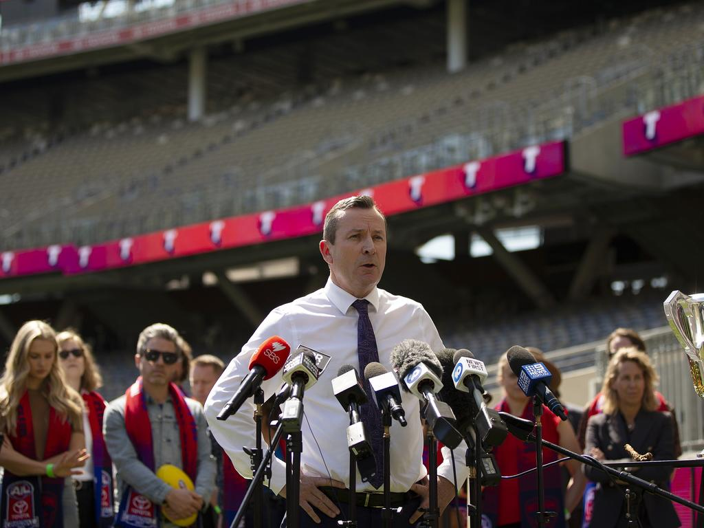 WA Premier Mark McGowan says he is confident the AFL Grand Final will go ahead on Saturday. Picture: Will Russell/Getty Images