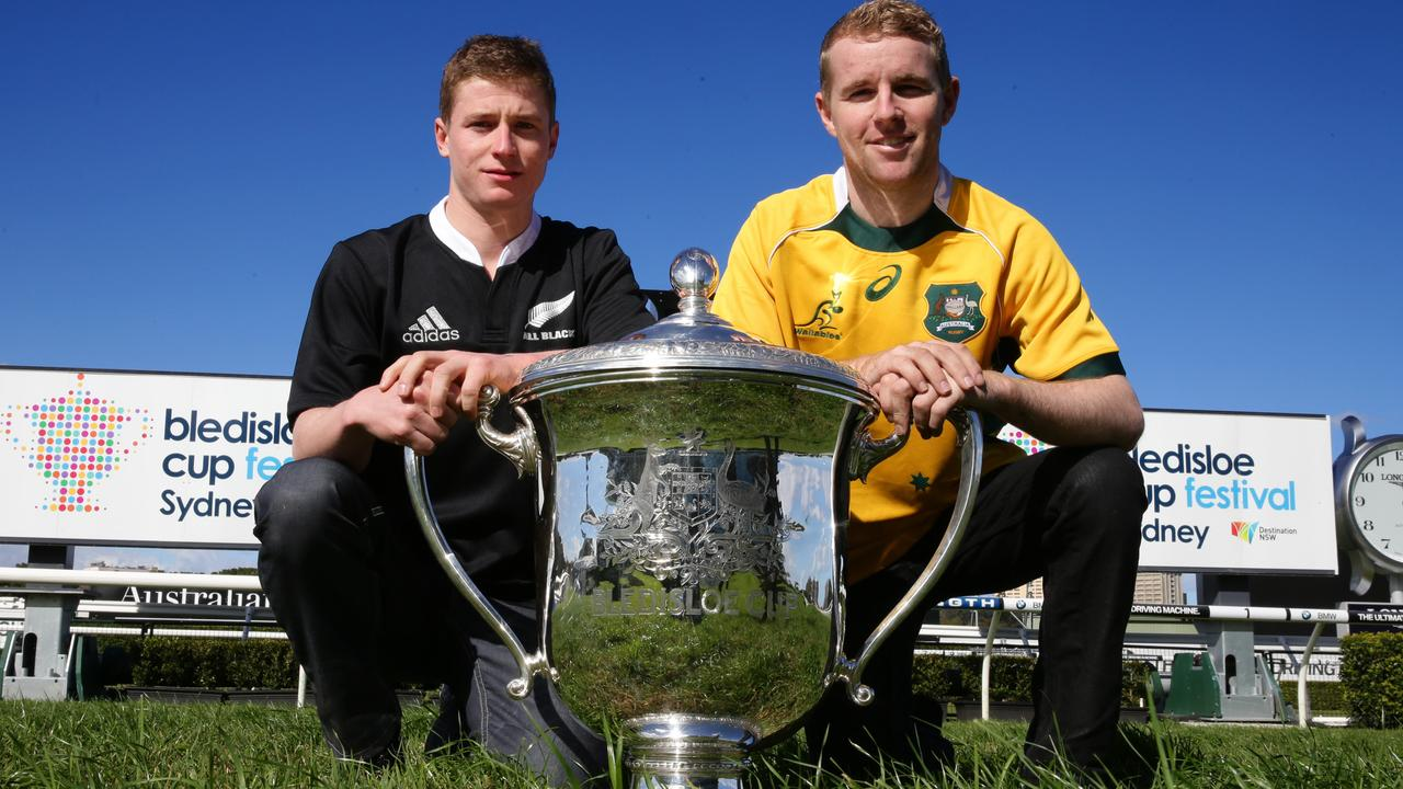 Champion jockeys Tommy Berry and James McDonald with Bledisloe Cup as promomotion for upcoming Bledisloe Cup festival at Randwick racecourse.