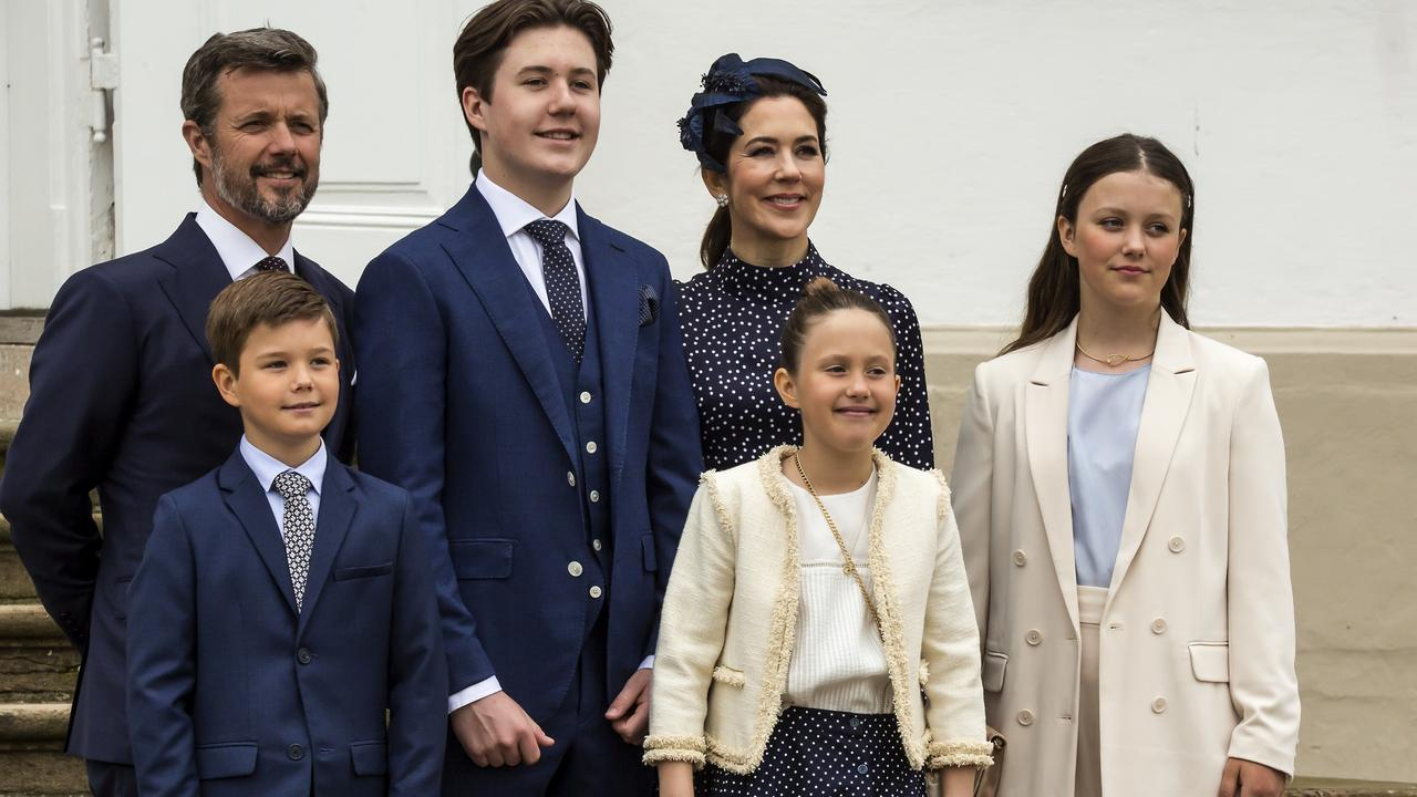 Prince Frederik and Princess Mary with their children at Prince Christian's confirmation. Picture: Getty Images