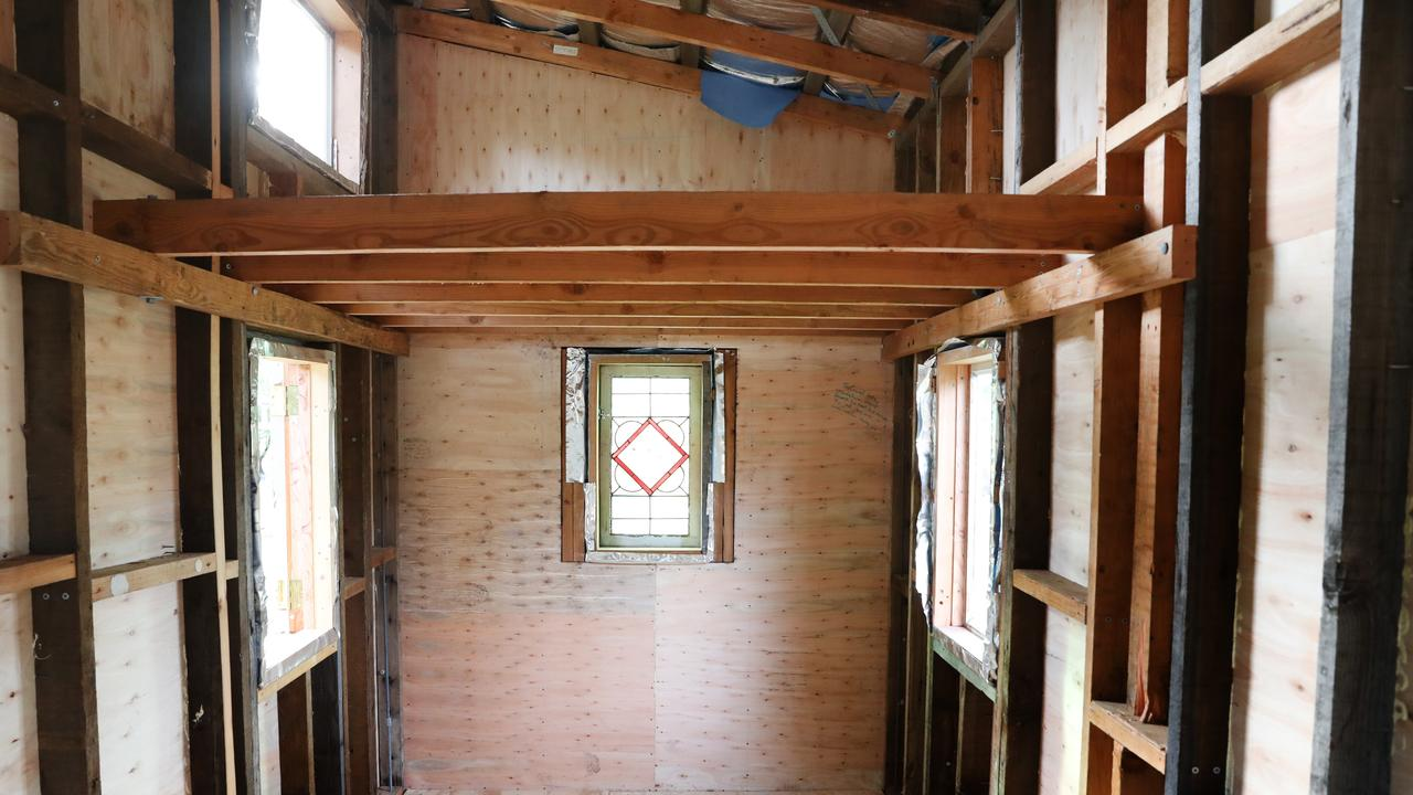 The interior of the loft style tiny house going to auction this weekend.