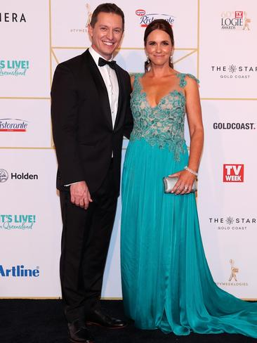 Funny man Rove McManus and his wife Tasma Walton. Picture: Chris Hyde/Getty Images