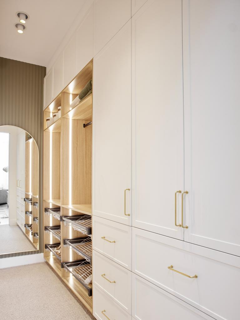 Robbie and Georgia's longer and wider master bedroom walk-in robe. Picture: Channel 9