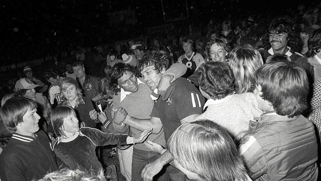 Arthur Beetson mobbed by the crowd after the very first Origin in 1980.
