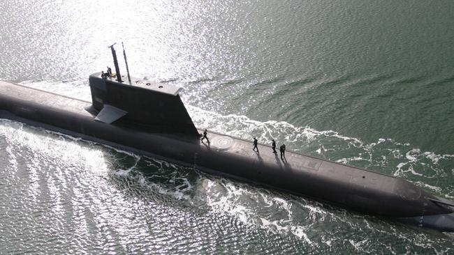 An Australian Collins Class Submarine built by the ASC at Osborne. Picture:  Michael Mullen/ASC