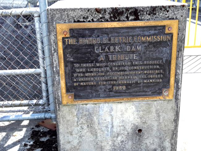 One of the bronze plaques stolen from the Clark Dam.