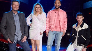 "THE VOICE -- ""Knockout Rounds"" Episode 1809 -- Pictured: (l-r) Blake Shelton, Kelly Clarkson, John Legend, Nick Jonas -- (Photo by: Trae Patton/NBC/NBCU Photo Bank via Getty Images)"