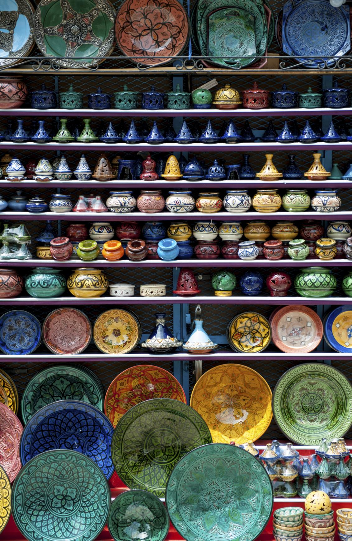 ESCAPE: CHEFCHAOUEN, MOROCCO .. Paul Ewart story .. Ceramics in souk of Chefchaouen (Chaouen), Morocco, North Africa. Picture: iStock