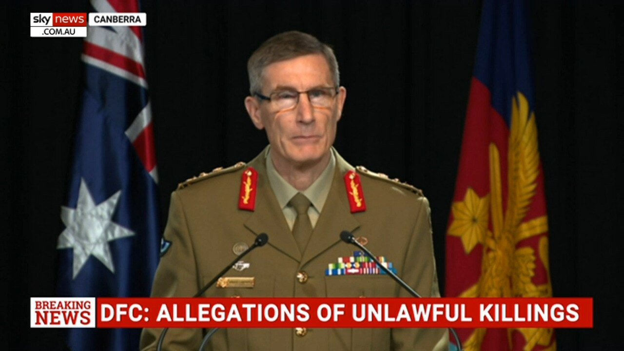 'I am sincerely sorry': ADF Chief reveals unlawful killing allegations are 'credible'