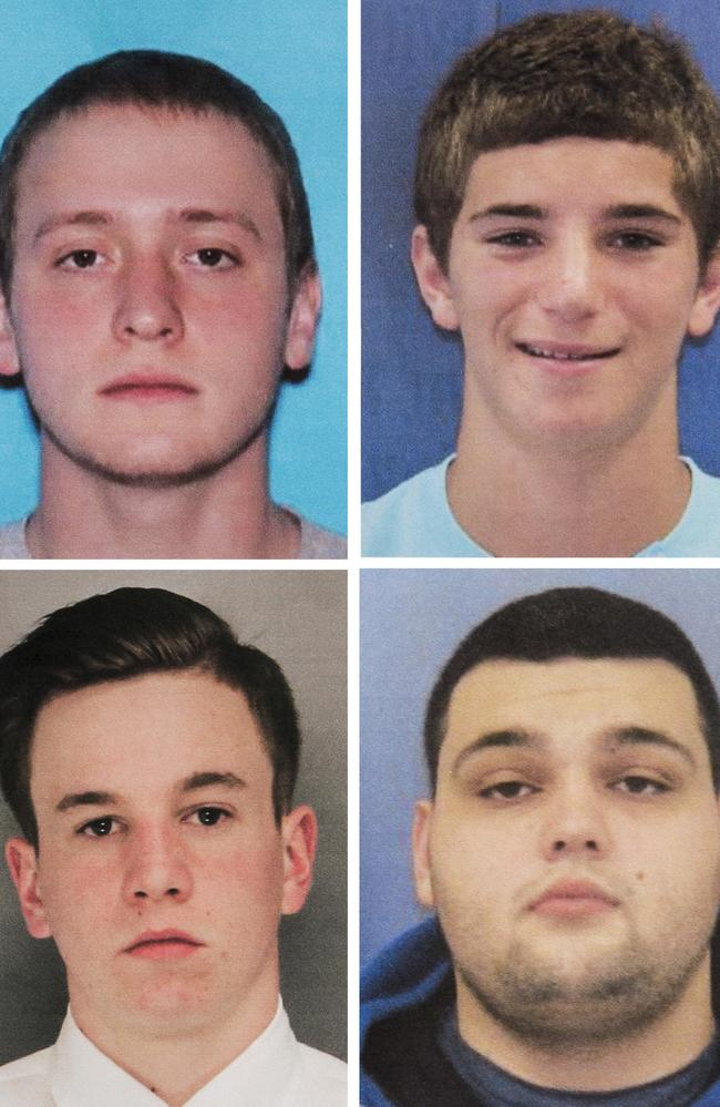 DiNardo has allegedly confessed to murdering four young friends. Clockwise from top left: Tom Meo, 21, Dean Finocchiaro, 19, Mark Sturgis, 22, and Jimi Taro Patrick. Picture: Bucks County District Attorney's Office via AP
