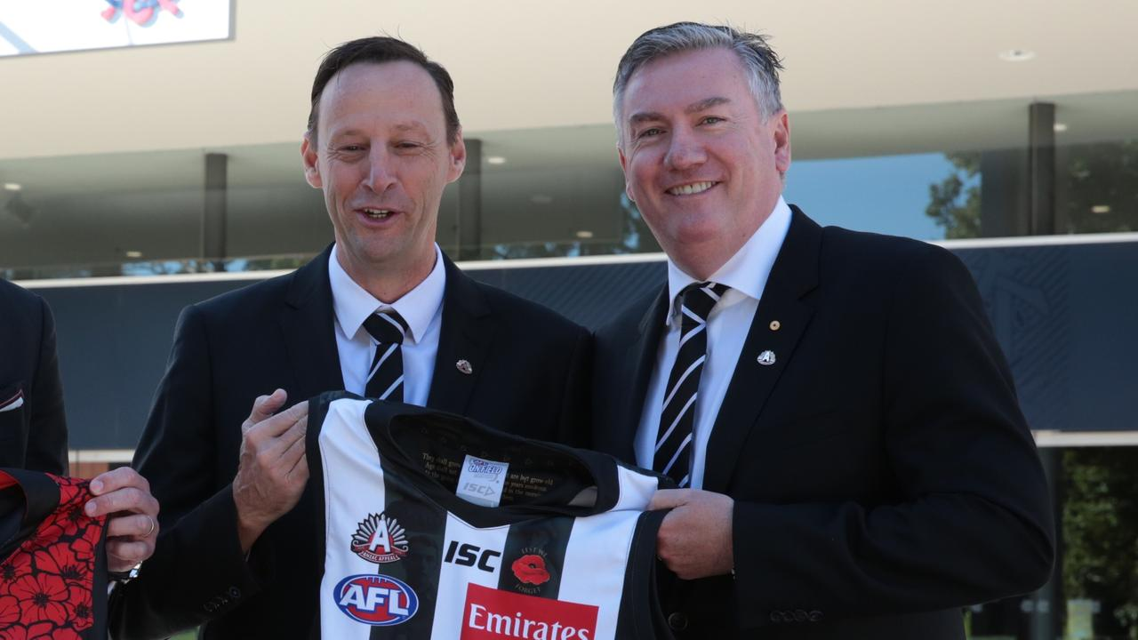 Collingwood president Eddie McGuire announced plans to step down at the end of 2021 (AAP Image/Stefan Postles).